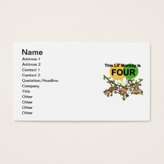 Swinging Monkeys 4th Birthday Tshirts and Gifts Business Card