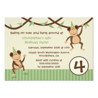 Swinging monkeys boy's birthday party invitation