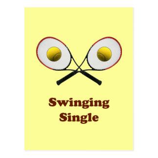 Swinging Single Tennis Postcard
