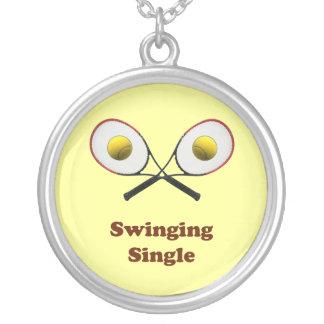 Swinging Single Tennis Round Pendant Necklace
