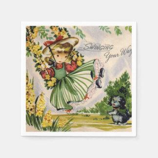 Swinging your way Vintage Girl paper napkins