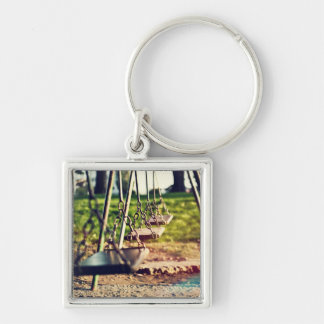 Swings Silver-Colored Square Keychain