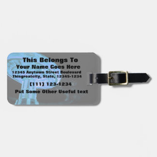 swings ride in blue fair midway carnival image luggage tag
