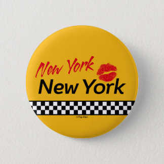 Swipes in Taxi NY & Red KIS Pinback Button