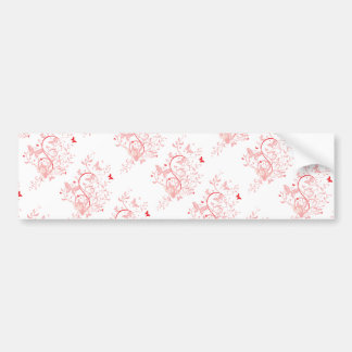 swirl10 BUTTERFLY FLORAL SWIRL RED PINKS ROSES GRA Car Bumper Sticker