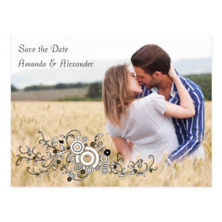 Swirl and Heart Save the Date Postcard