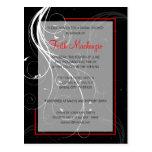 Swirl Black and Red Wedding Shower Invitation Postcards