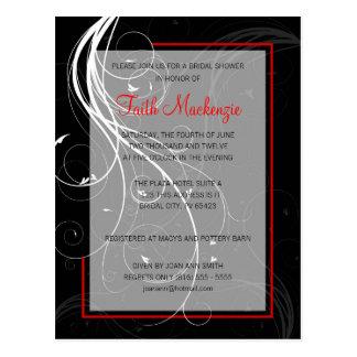 Swirl Black and Red Wedding Shower Invitation Postcard