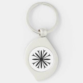 Swirl BLACK & WHITE FLOWER LOGO Keychain