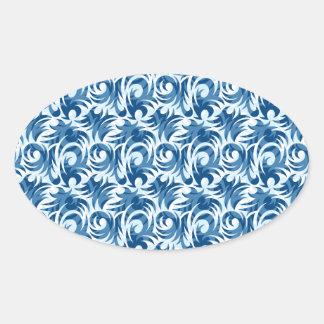 swirl blue colored design oval sticker