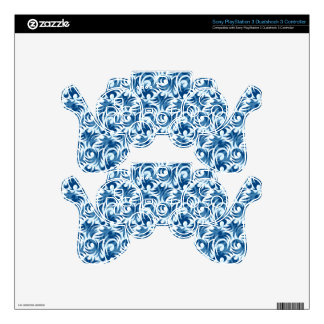 swirl blue colored design PS3 controller decals