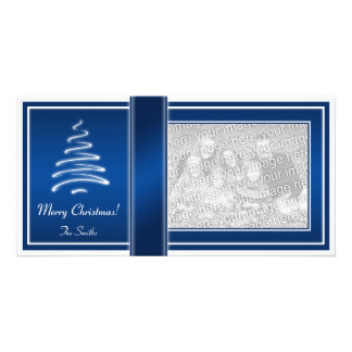 Swirl Christmas Tree in Blue and White Photo Card