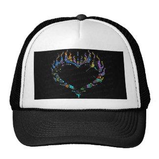 Swirl Color Rhinestone Flaming Heart Baseball Hat