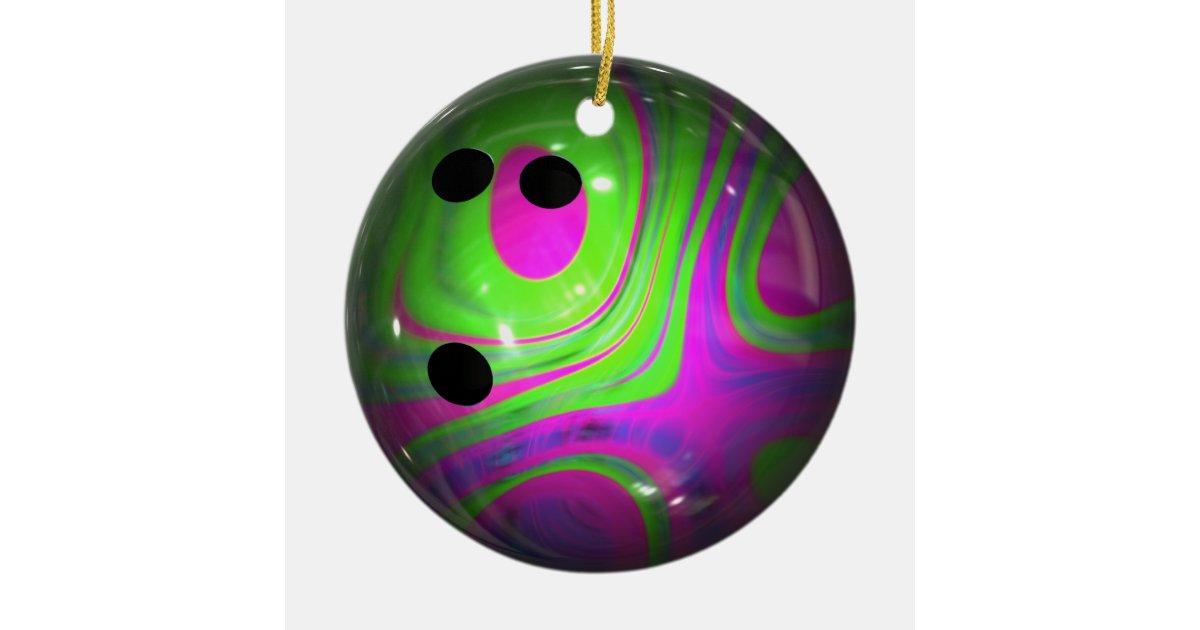 Swirl Colors Bowling Ball Ceramic Ornament Zazzle Com