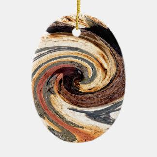 Swirl-Colors of Rust/Rust-Art Ceramic Ornament