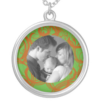Swirl Custom Photo Silver Plated Necklace