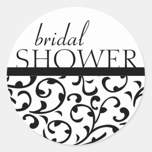 Swirl Damask Bridal Shower Labels Classic Round Sticker