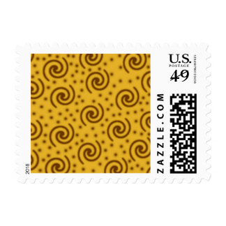 Swirl Design in mustard yellow and brown. Stamp