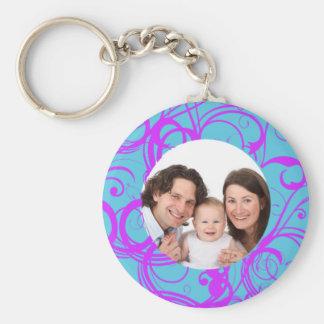 Swirl Design/ Photo Basic Round Button Keychain
