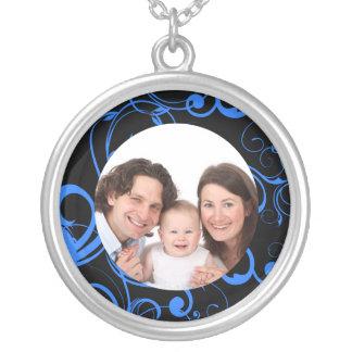 Swirl Design/ Photo Round Pendant Necklace
