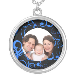 Swirl Design/ Photo Silver Plated Necklace