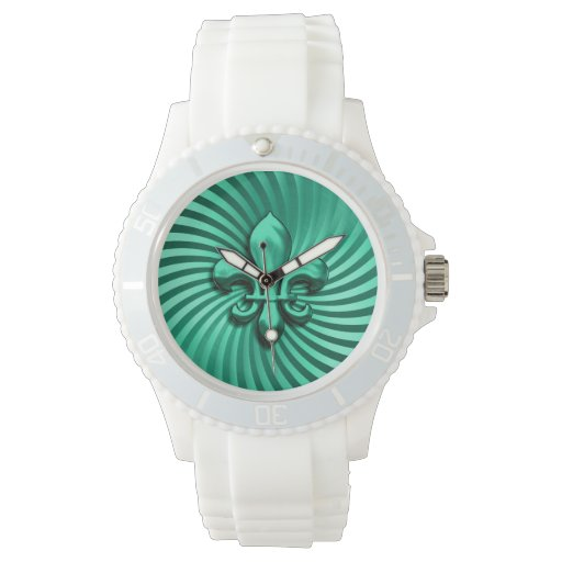 Swirl Fleur de Lis Emerald Watches