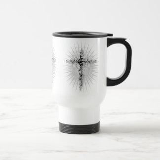 Swirl-Floral Cross-1 Travel Mug