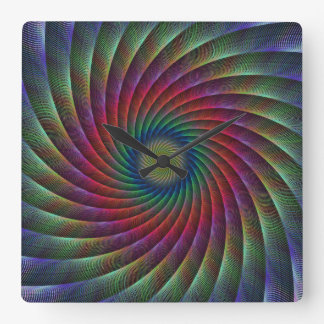 Swirl fractal square wall clock