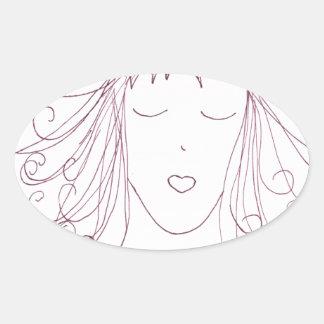 Swirl Girl Oval Sticker