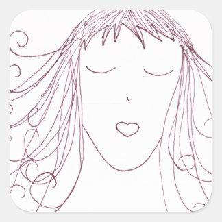 Swirl Girl Square Sticker