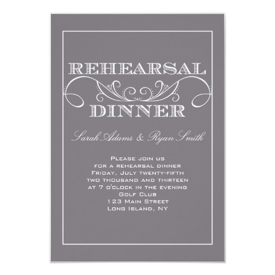 Swirl Gray Rehearsal Dinner Invitation