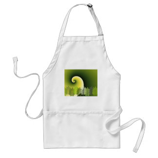 Swirl green forest leaves abstract digital art adult apron