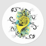 Swirl Grunge Horn Round Stickers