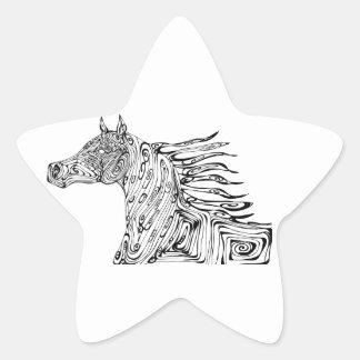 swirl  horse star sticker