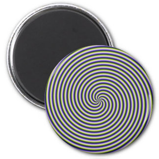 Swirl in Green Blue and Violet 2 Inch Round Magnet