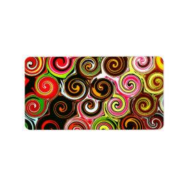 Swirl Me Pretty Colorful Swirls Pattern Address Label