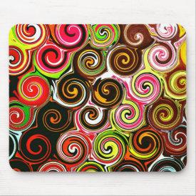 Swirl Me Pretty Colorful Swirls Pattern Mouse Pads