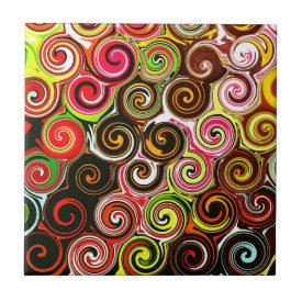 Swirl Me Pretty Colorful Swirls Pattern Tile