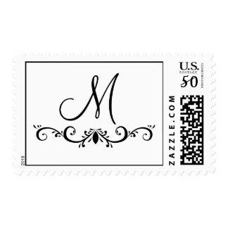 Swirl Monogram Postage Stamp for Weddings