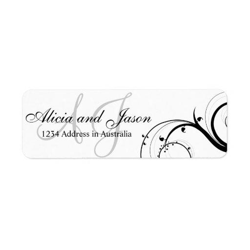 Swirl Monogram Return Address Label Black