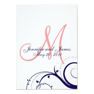 Swirl Monogram Wedding Invitations Navy Coral