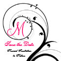 Swirl Monogram Wedding Save the Date Back View invitation