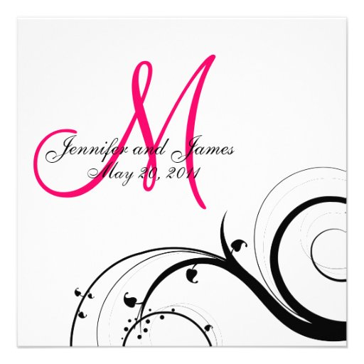 Swirl Monogram Wedding Save the Date Back View Personalized Invitations