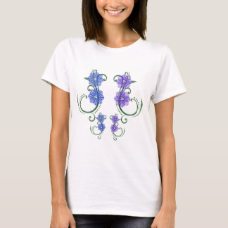 Swirl of Blue/Lilac Flowers T-Shirt