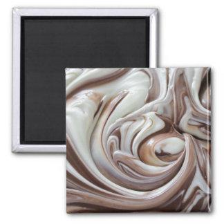 swirl of chocolate square magnet