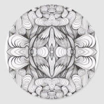 artsprojekt,baroque,swirl,symmetrical,abstract,ornament,black and white,line,kaleidoscope,patricia,vidour,pattern,textile,modern,contemporary,design,studio,black,white,drawing,minimal,rococo,geometry,project,multiple, Sticker with custom graphic design