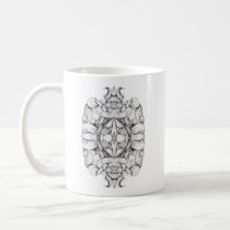 artsprojekt,baroque,swirl,symmetrical,abstract,ornament,black and white,line,kaleidoscope,patricia,vidour,pattern,textile,modern,contemporary,design,studio,black,white,drawing,minimal,rococo,geometry,project,multiple, Mug with custom graphic design
