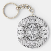 artsprojekt,baroque,swirl,symmetrical,abstract,ornament,black and white,line,kaleidoscope,patricia,vidour,pattern,textile,modern,contemporary,design,studio,black,white,drawing,minimal,rococo,geometry,project,multiple, Keychain with custom graphic design