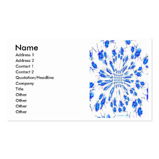 Swirl pattern of blue and white small flowers business card template