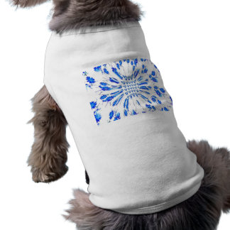 Swirl pattern of blue and white small flowers pet clothing